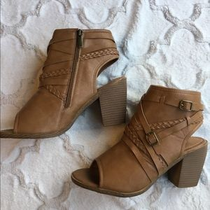 Maurices Tracy Peep Toe Cut Out Heel Brown Bootie